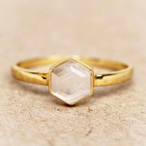 Ring Moonstone Hexagon