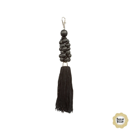 The Wooden Beads Keychain - Black
