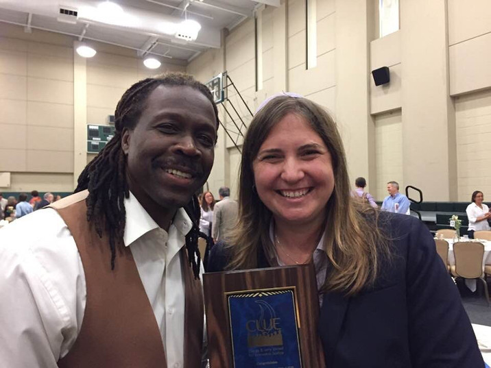 Pastor Cue Jn-Marie presented Rabbi Miller with the 2018 Clergy and Laity United for Economic Justice Giant of Justice Award
