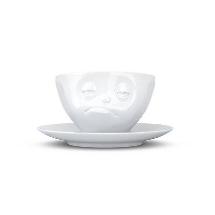 Kaffee-Tasse mit Unterteller - verpennt - weiss