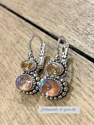Ohrhänger mit zwei Kristallen, versilbert, diverse Farben