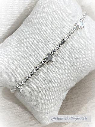 arubaS - Armband Silberkugeln mit drei Silbersternen