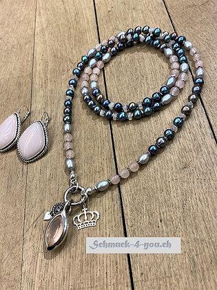 arubaS - Rosenquarz-Perlen, Süsswasserperlen und Hämatit-Scheiben