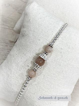 arubaS - Armband Silberkugeli mit drei Mondsteinkugeln