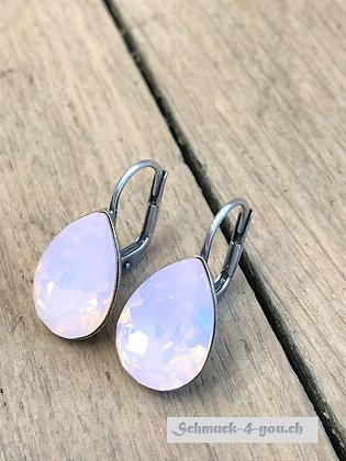 Ohrhänger Swarovski-Pear rose water opal