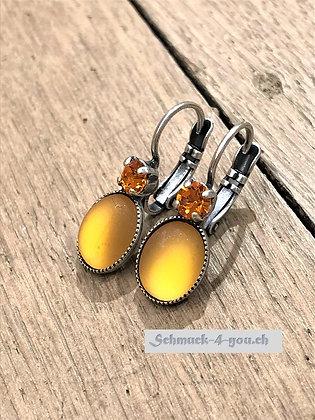 Ohrhänger orange mit Swarovski