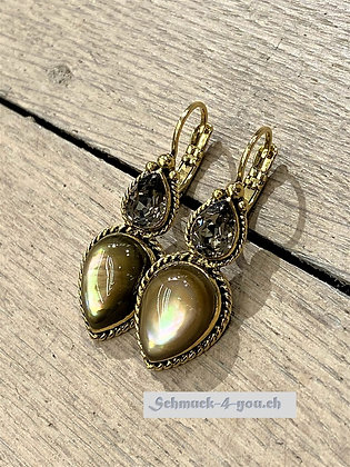 Ohrhänger mit zwei Tropfen-Kristallen, vergoldet, diverse Farben