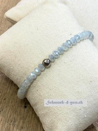 arubaS - Armband Glaskristall, hellgrau mit Silberkugel