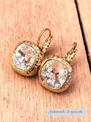 Ohrhänger mit gehämmerter Fassung, vergoldet, diverse Farben