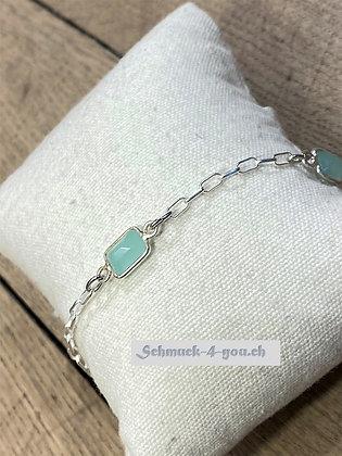 arubaS Armband – Silberketteli  mit Amazonit-Zwischenteile