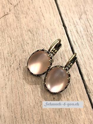 Ohrhänger oval rosa vergoldet