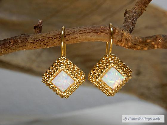 Steinkult - Pyramid Ohrhänger, Opal White, vergoldet