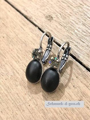 Ohrhänger schwarz mit Swarovski