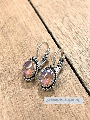 Ohrhänger oval klein mit Umrandung, versilbert, diverse Farben