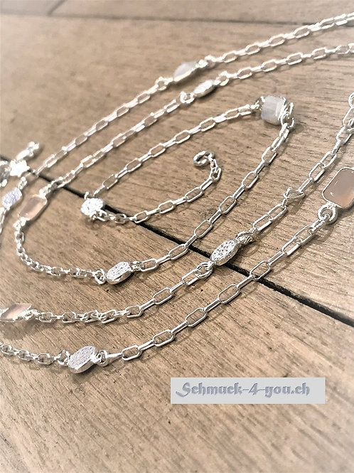 ArubaS Silberkette 925 mit Zwischenteile aus Rosenquarz & Mondstein
