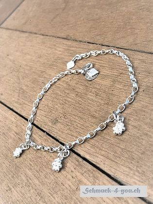 Fussketteli Silber mit Blüemlianhänger