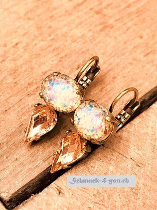 Ohrhänger opal lachs mit Swarovski