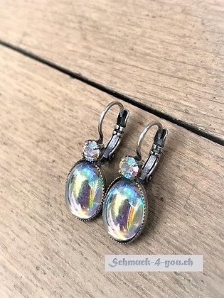 Ohrhänger regenbogen mit Swarovski silver