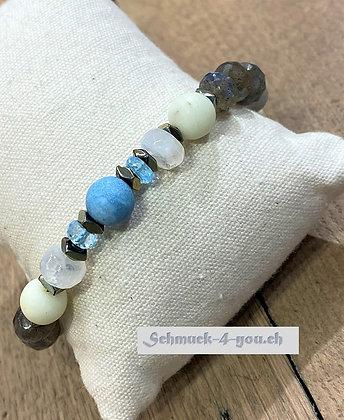 arubaS Armband - Jade, Labradorit, Topas, Mondstein und Blauquarz