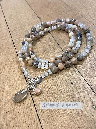 arubaS - Halskette mit Mondstein bedampft, Regenbogenmondstein und Hämatit