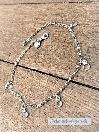 Fussketteli Silber mit Rosenquarzanhänger