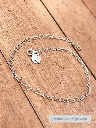 Fussketteli Silber Glieder Herzen, klein, Silber 925