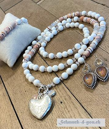 arubaS - Halskette mit Marmor Jaspis, Rosenquarz, Mondstein und Muscheln