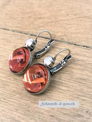 Ohrhänger orange mit Swarovski hellrosa