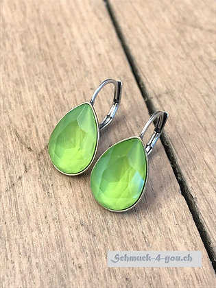 Ohrhänger Swarovski-Pear lime