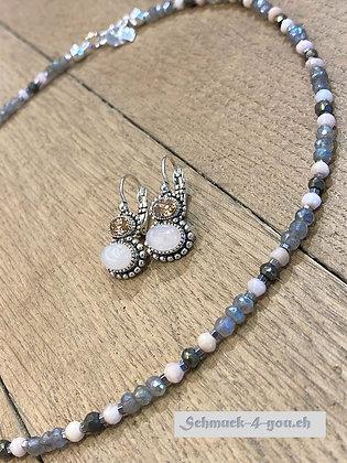 arubas - Halskette mit Pinkopal, Labradorit, Pyrit und Hämatit