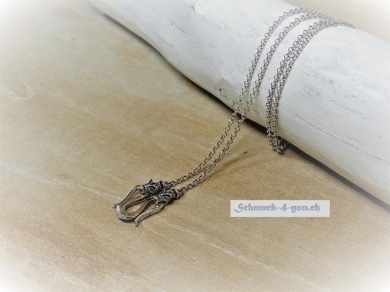 Silberkette 925 Wikinger mit zwei Drachenköpfen