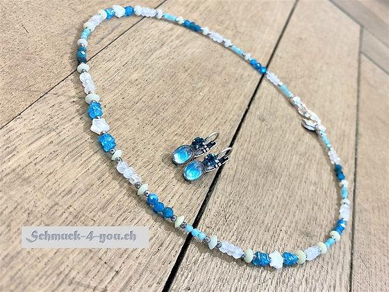 arubaS - Halskette mit Amazonit, Apatit, Mondstein, Serpentin und Perlmutt