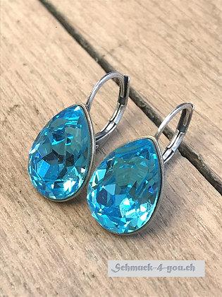 Ohrhänger Swarovski-Pear aquamarine