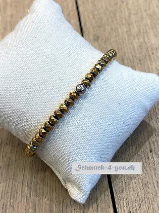 arubaS - Armband Hämatit in der Farbe gold/rosegold mit Silberkugel