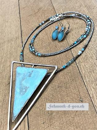 arubaS - Halskette mit Aquamarine, Amazonit und Hämatit