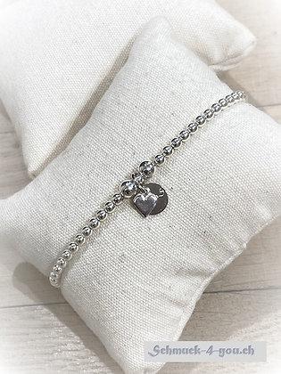 arubaS - Armband Silberkugeln mit kleinem Herz