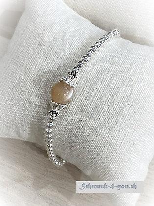 arubaS - Armband Silberkugeli mit grosser Mondsteinkugel