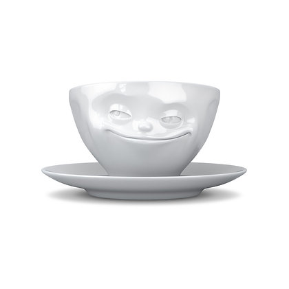 Kaffee-Tasse mit Unterteller - grinsend - weiss