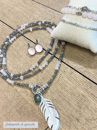 arubaS - Labradorit, Rosenquarz und Silberzwischenteilen