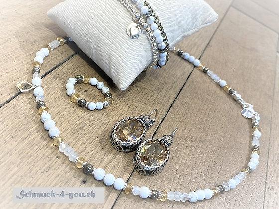 arubaS - Halskette mit Citrin, Mondstein, Pyrit, Magnesit & Silberzwischenteile