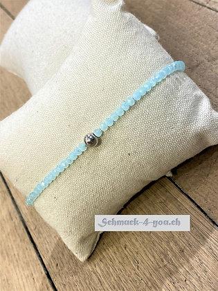 arubaS - Armband Glaskristall, helltürkis mit Silberkugel