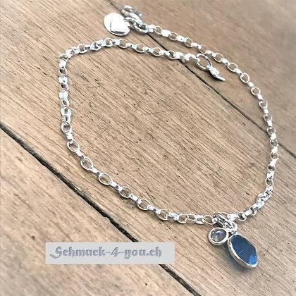 Fussketteli Silber mit Blauquarz- + Labradoritanhänger