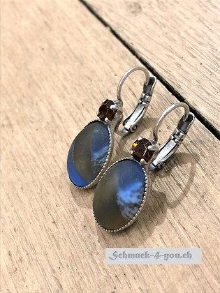 Ohrhänger blaugestreift mit Swarovski