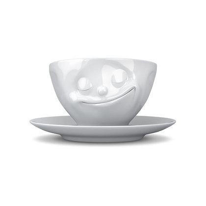 Kaffee-Tasse mit Unterteller - glücklich - weiss