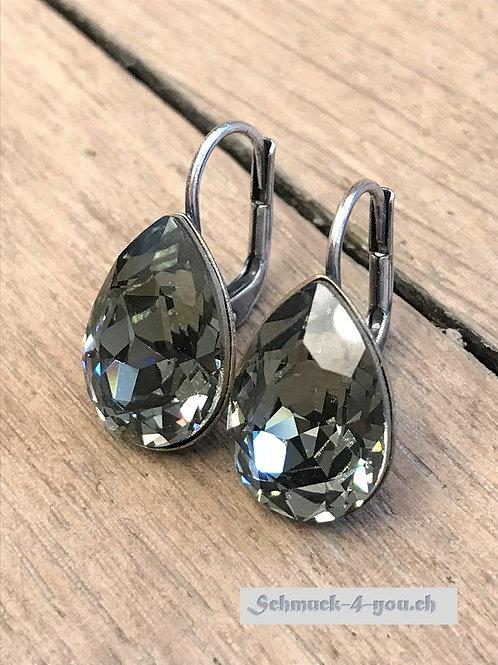 Ohrhänger Swarovski-Pear silver night