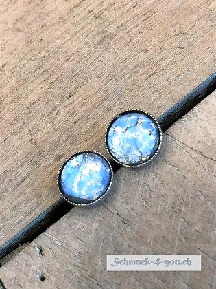 Ohrstecker opal blau