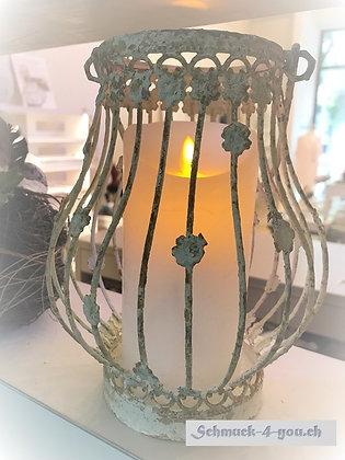 Laterne mit Blumen Dekor – Antique creme - 20.5cm