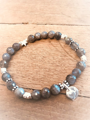arubaS - Armband Labradorit mit Silberzwischenteile