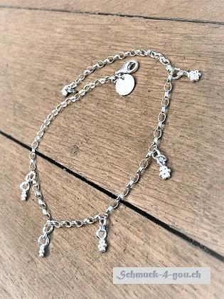 Fussketteli Silber mit Blüemlianhänger klein