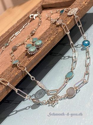 arubaS - Halskette Silber mit Mondstein, Amazonit und Blauquarz